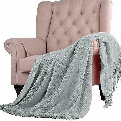 Home Things Boon Knitted Tweed Throw Cover 60,