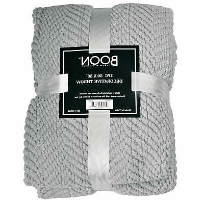 Home Soft Things Boon Knitted Throw Cover Blanket, 50 x 60, Silver