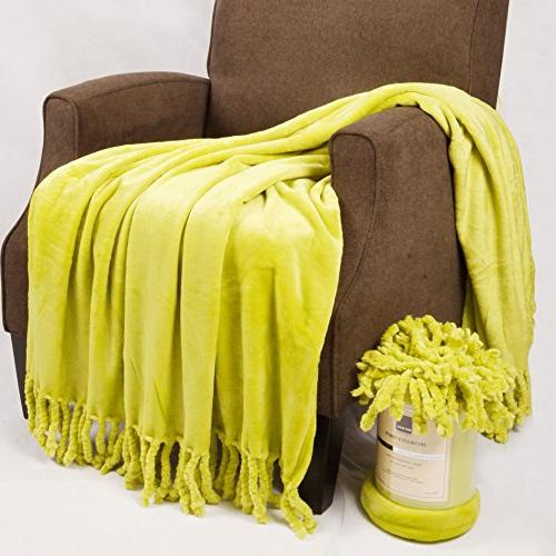 """Home Soft Rope Braided Bed Couch Throw 60"""", Green"""