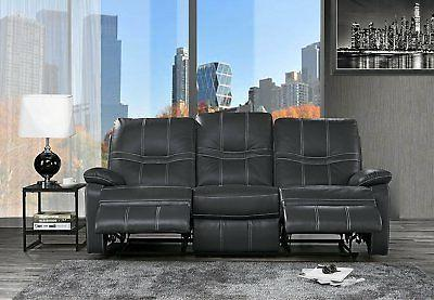 classic upholstered leather match recliner sofa 3