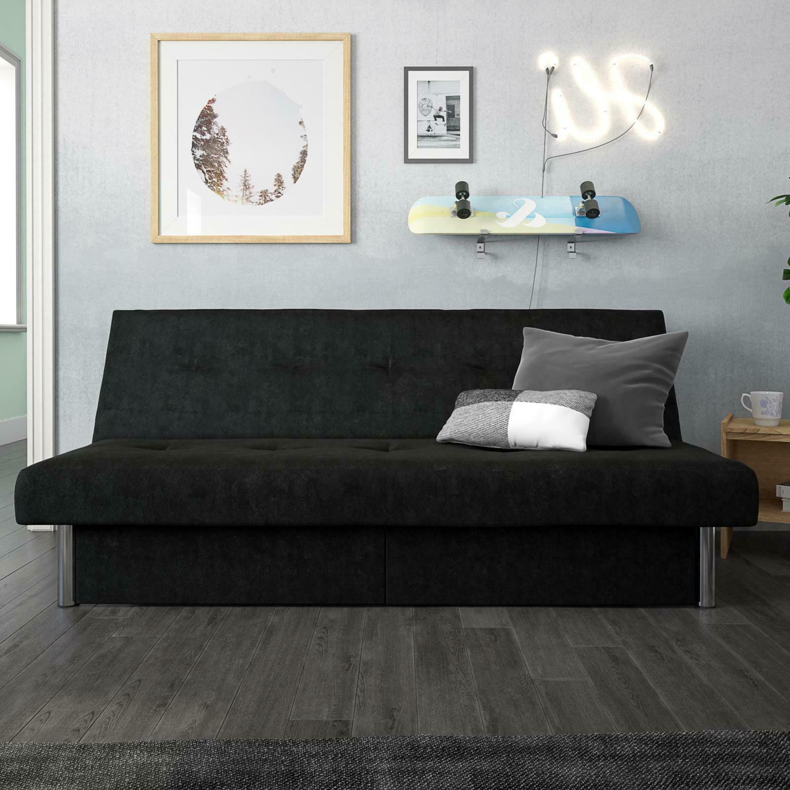 Convertible Couch Sofa Bed Microfiber Room Storage Set
