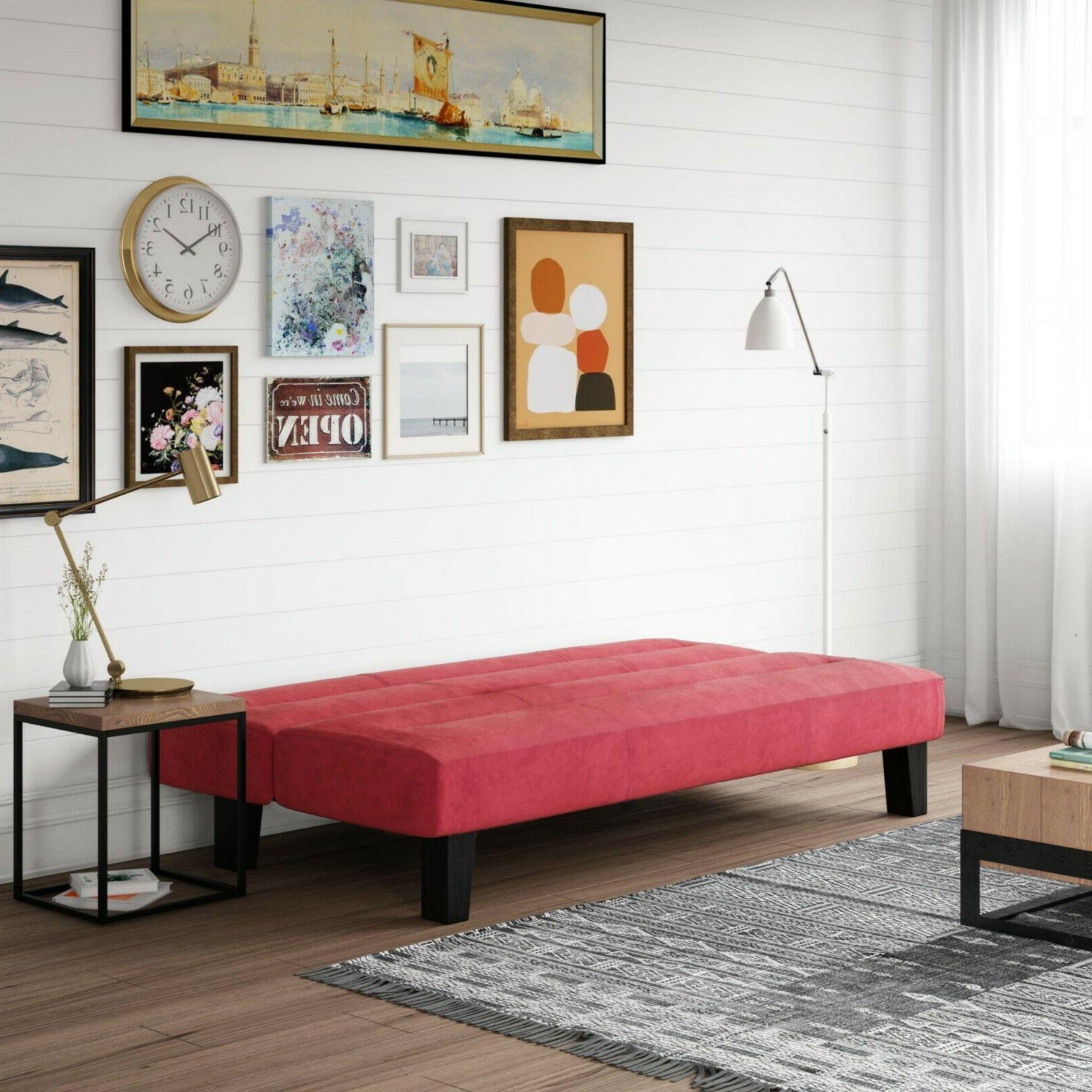 Convertible Red Couch Sleeper Guest Design Lounge Chaise