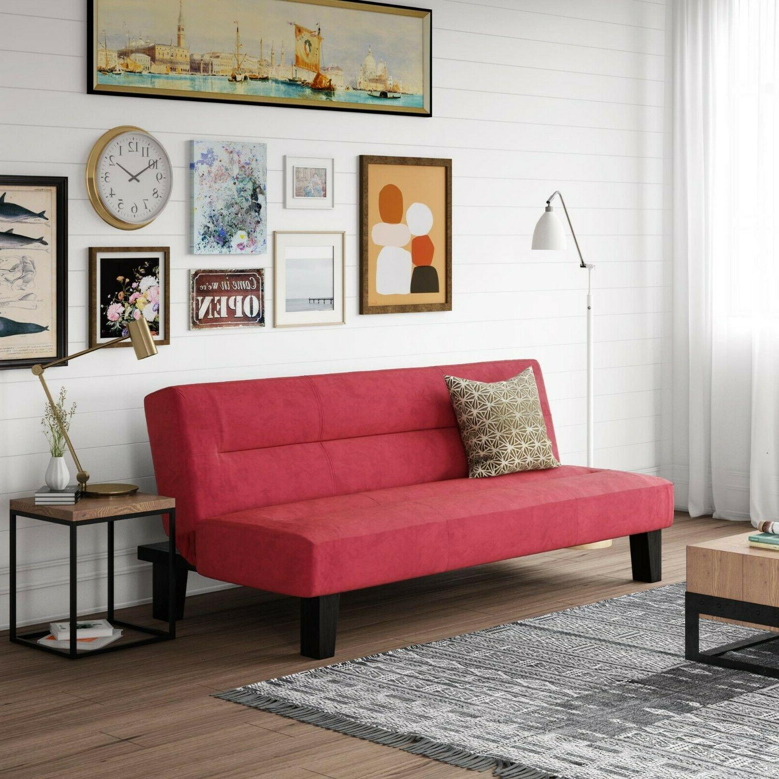 convertible red sofa couch sleeper guest bed