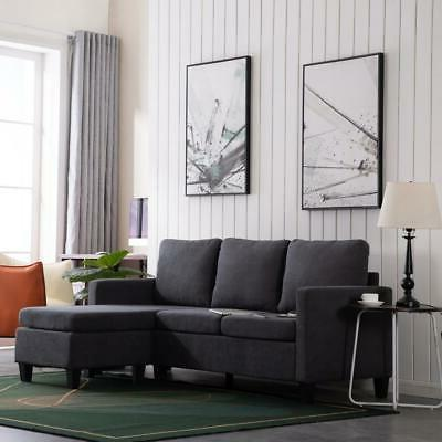 Convertible Sectional Fabric L-Shaped Home with Cushion
