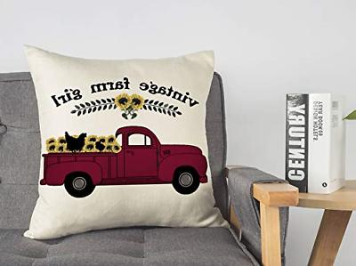 4TH Red Truck Pillow Cushion Case for