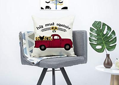 4TH Emotion Farmhouse Red Cushion Case Couch