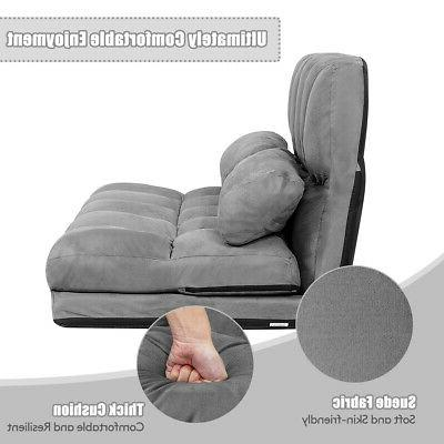 Foldable Floor 6-Position Adjustable with 2 Pillows Grey