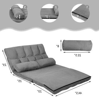 Foldable Sofa Bed 6-Position Lounge with 2 Pillows Grey