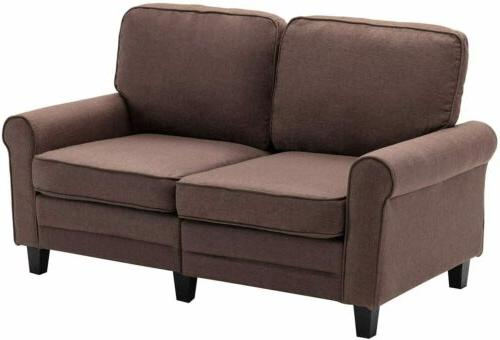Futon Sofa Couch Modern Upholstered Padded 2-Seater Furniture