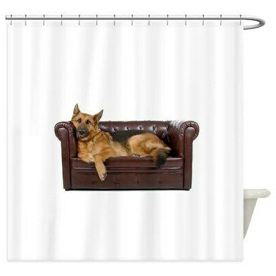 german shepherd on couch shower curtain 1527927333
