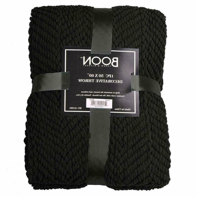 Home Things Boon Knitted Tweed Throw 60, Raven