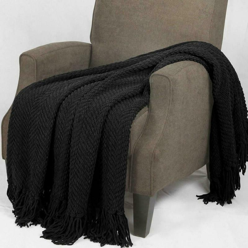 Home Knitted Throw Cover 60, Raven