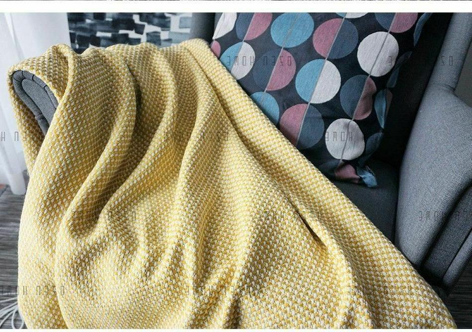 Home Soft Things Knitted Tweed Throw Couch Cover Weighted Blanket