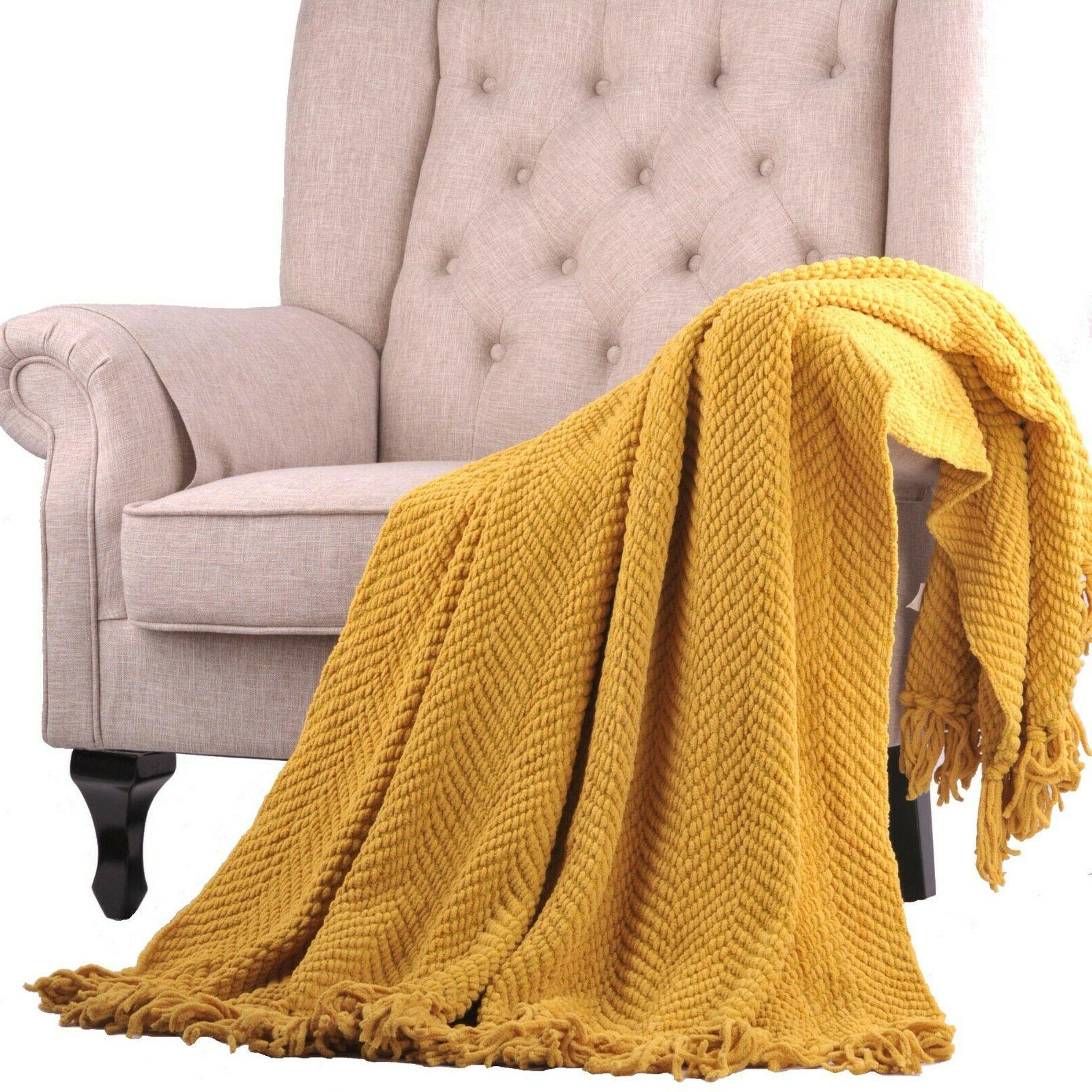 knitted throw throw sofa couch blanket home
