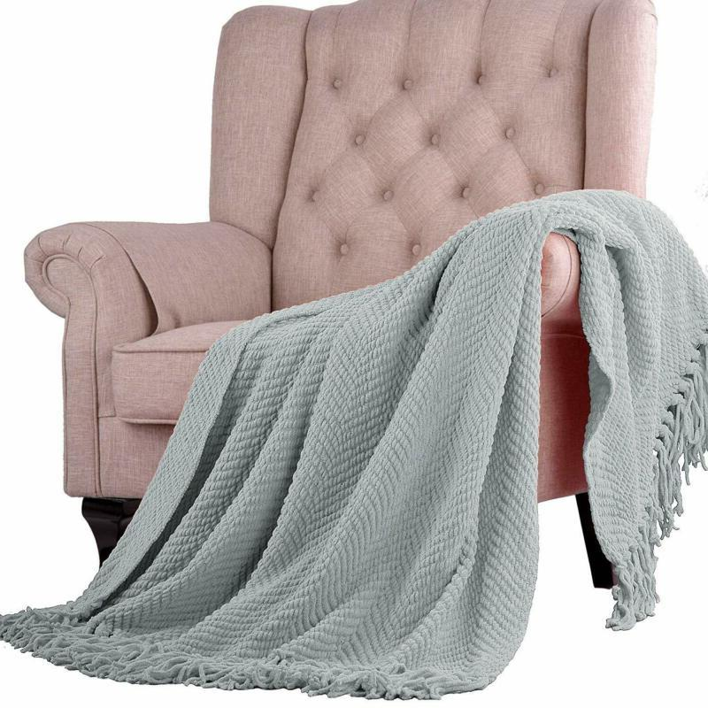 Home Soft Things Knitted Tweed Couch Blanket, 50 Silver