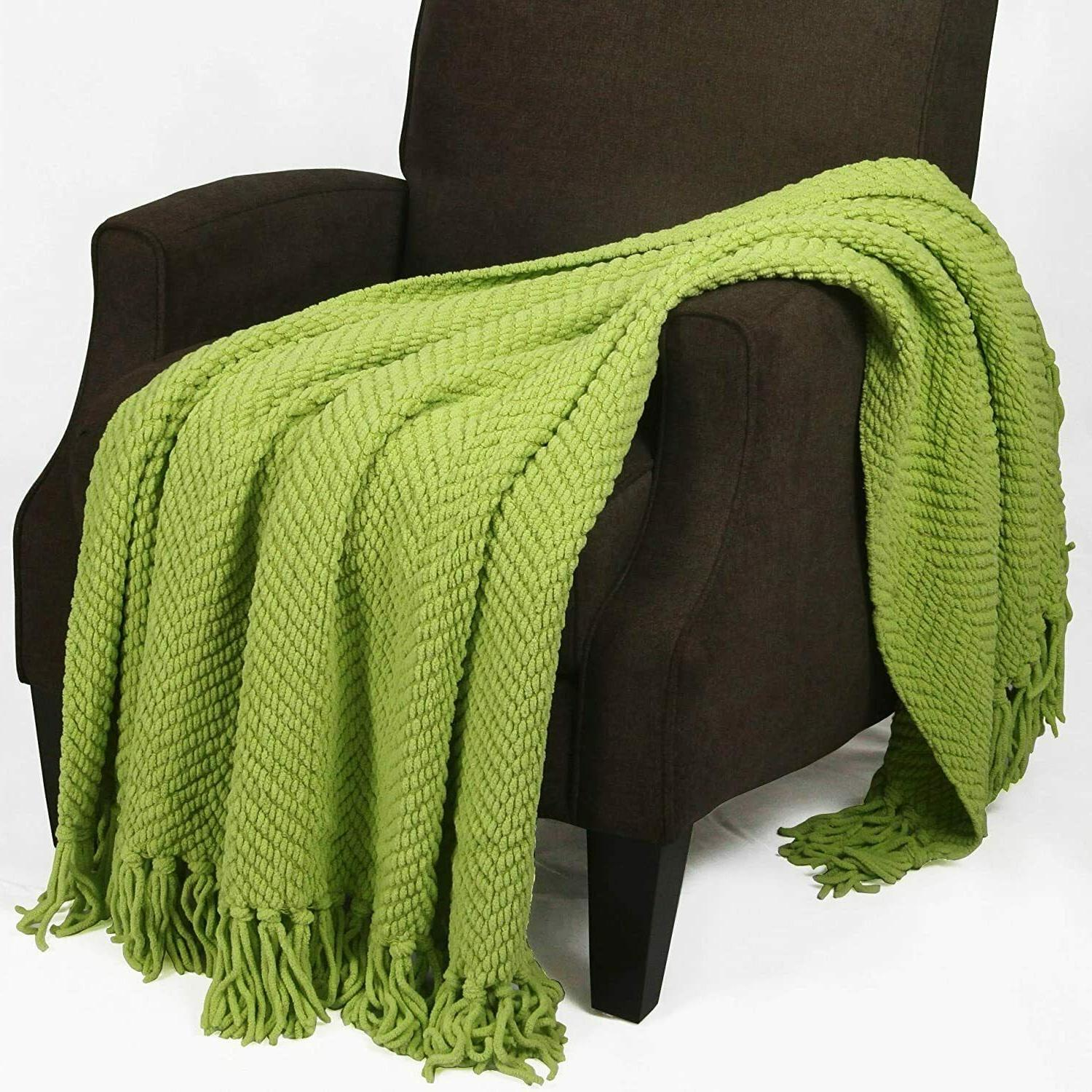 Knitted Tweed Throw Couch Cover Blanket, 50x60, Citron by Ho