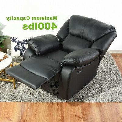 Leather Recliner Chair Manual Single Sofa Lounge Home Push-back