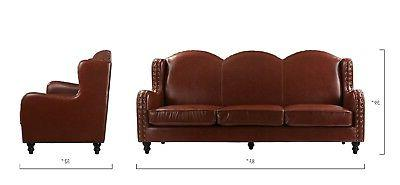 Leather Seater, Living Loveseat for 3, Nailheads, Light Brown