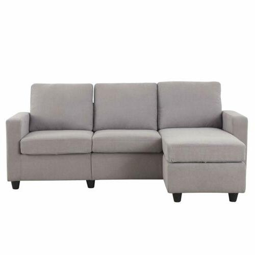 Linen Sectional L-Shaped Couch W/Reversible for Small