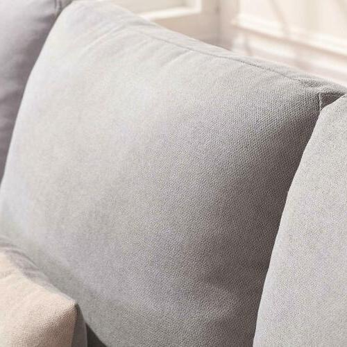 Linen Fabric Sectional L-Shaped Couch for Small