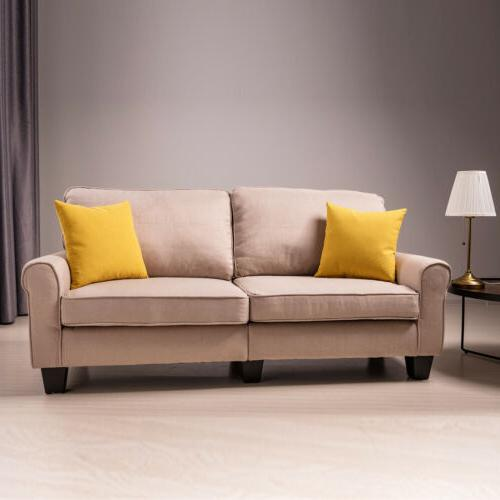 Loveseat 3 Couch Futon Fabric Room Rolled Beige