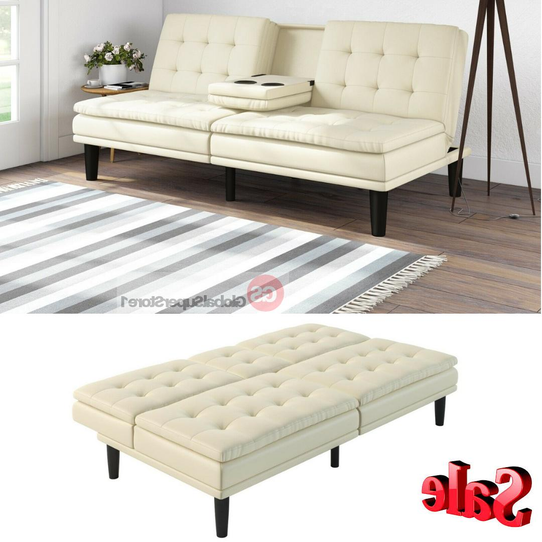 Memory Foam Leather Futon Sofa Bed Couch Sleeper Cup Holder