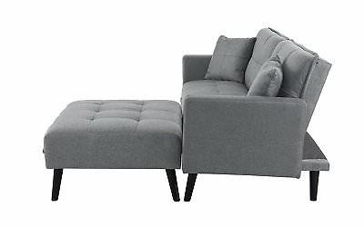 Mid-Century Futon Sofa Bed for Room Sleeper Couch, Light
