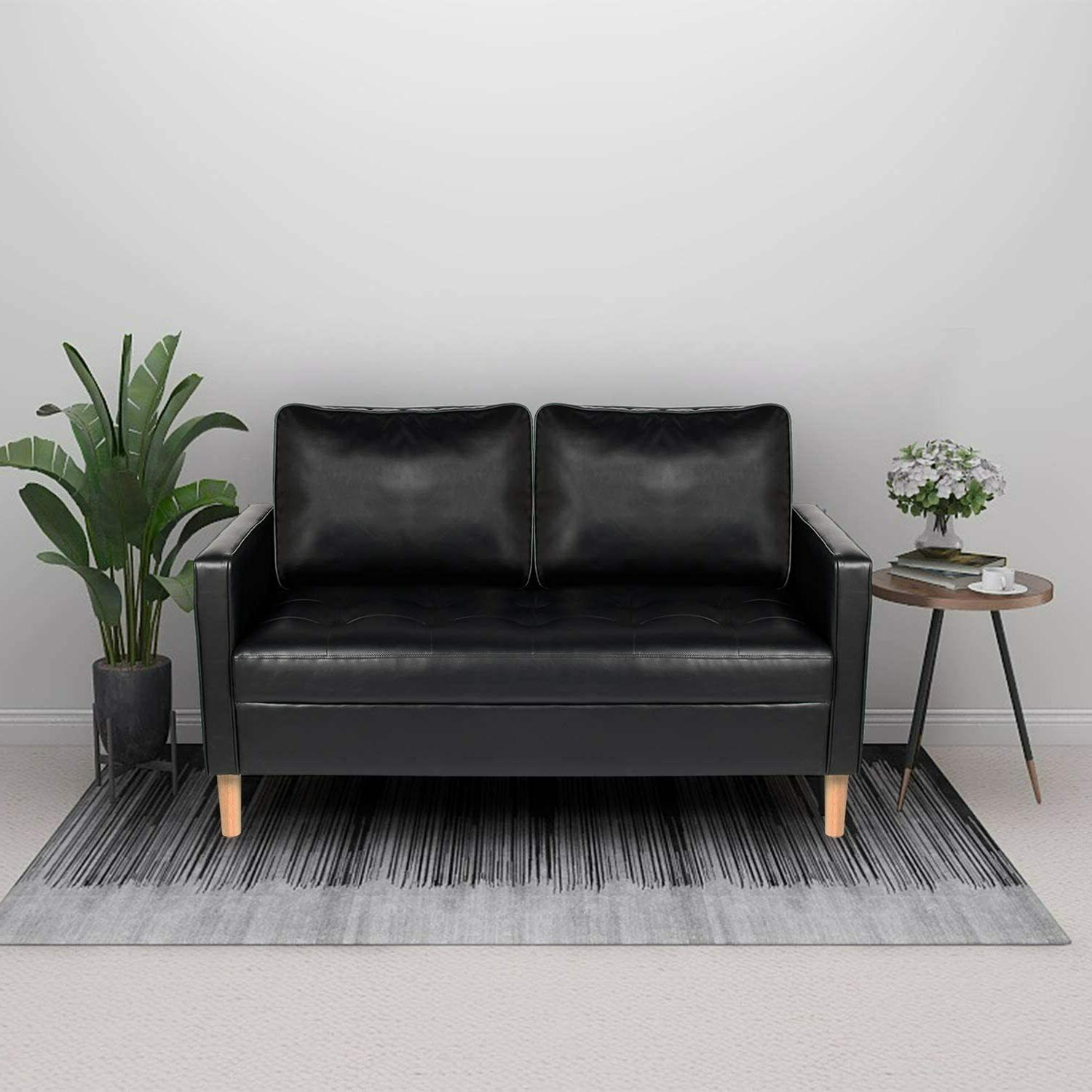 Mid-Century Loveseat Faux Sofa with Armrest