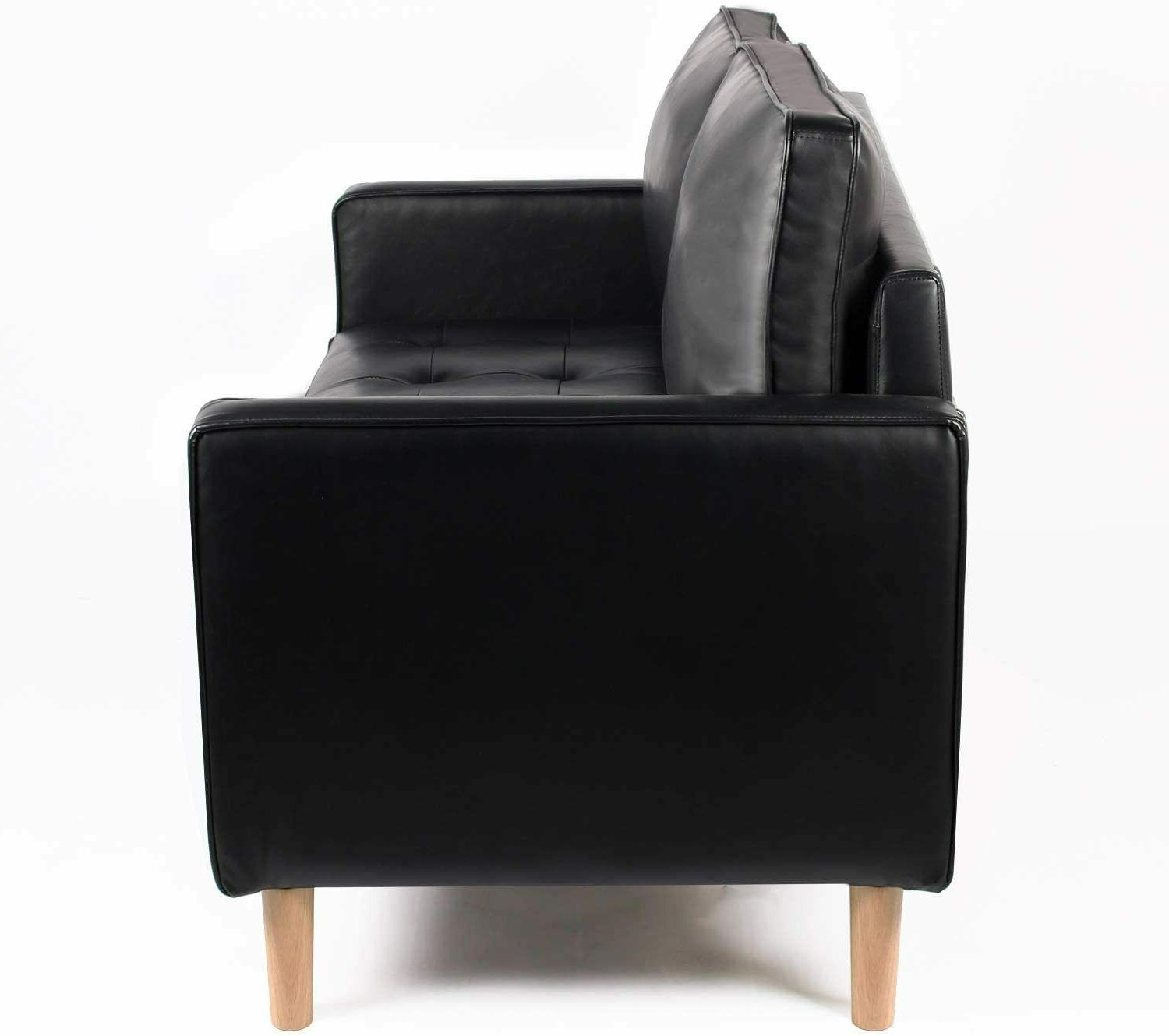 Mid-Century Leather Sofa Couch for Room, Black