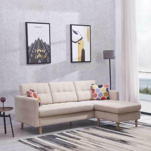 Modern Chaise L-Shape Sectional Lounge Home Furniture