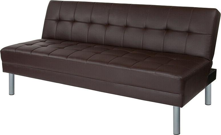 Modern Design Living Futon Sofa Bed Couch in Brown LeatherSo