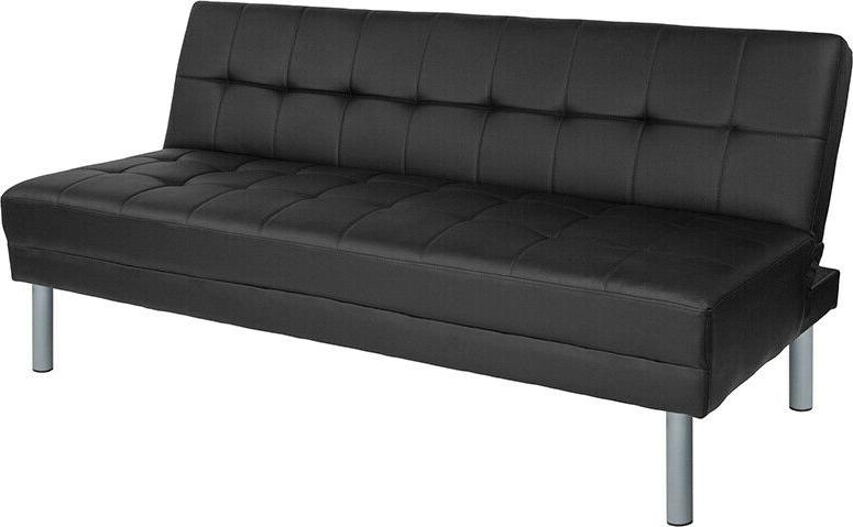 Modern Design Living Futon Sofa Bed Couch in Black LeatherSo