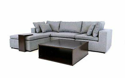 Modern Fabric Sectional Sofa Wood Side Table Tray Reversible