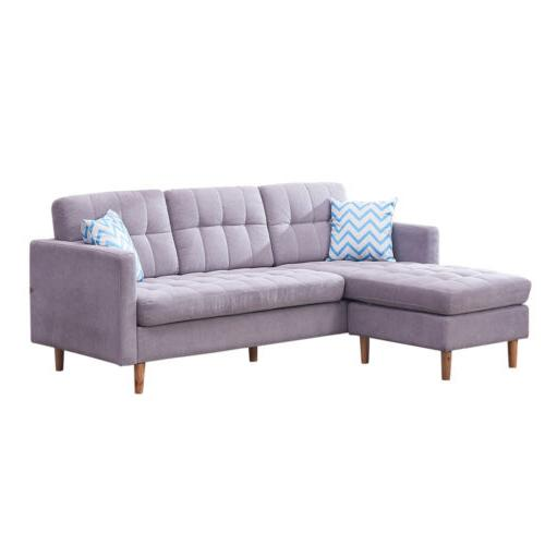 Modern Faux Chaise L-Shape Sectional Sofa Couch Lounge Set Home