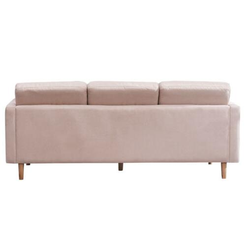 Modern Faux Chaise L-Shape Sectional Fabric Couch Lounge Home