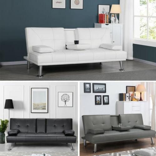 Modern Leather Futon Sofa Fold & Down Recliner Couch with Cup Holder