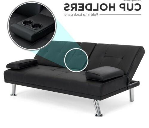 Modern Futon Sofa Fold Couch Cup Holders Furniture