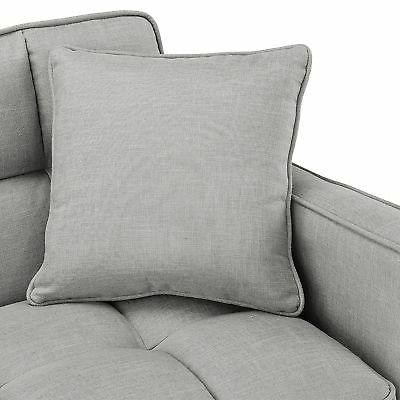 Modern Small Room Square Tufted Couch, Grey