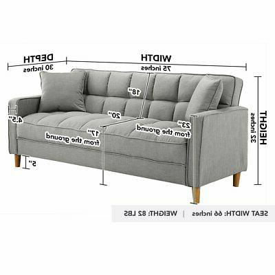 Modern Small Room Sofa Linen Square Couch, Grey