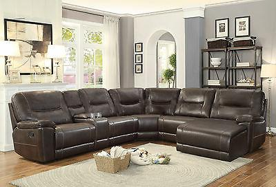 new 6pcs sectional living room brown faux