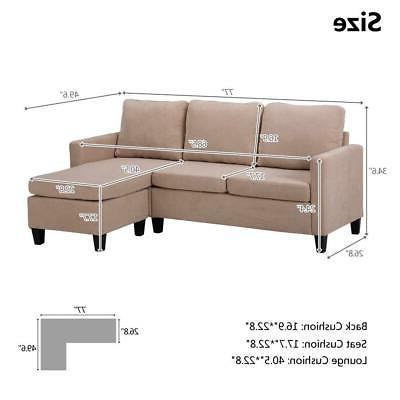 New Sectional Sofa L-Shaped Couch Chaise Small Space US