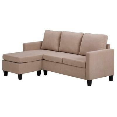 New Sectional Sofa L-Shaped Couch W/Reversible Chaise for Small Beige US