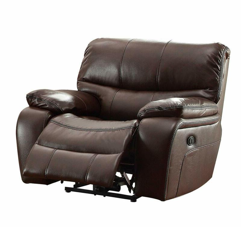 pecos leather gel power recliner brown