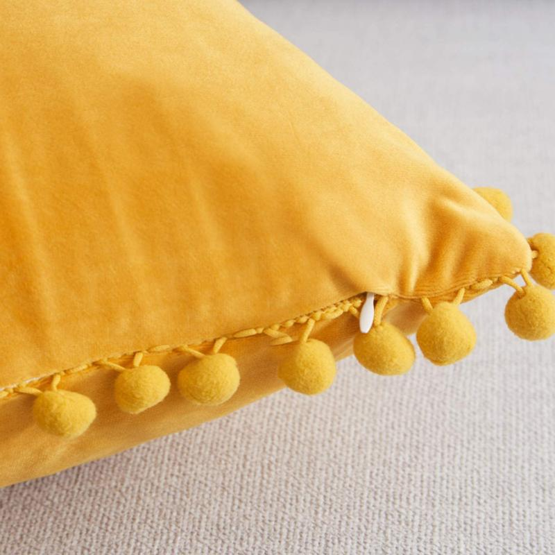 PILLOW COVER with Poms Case for Car By TOP FINEL