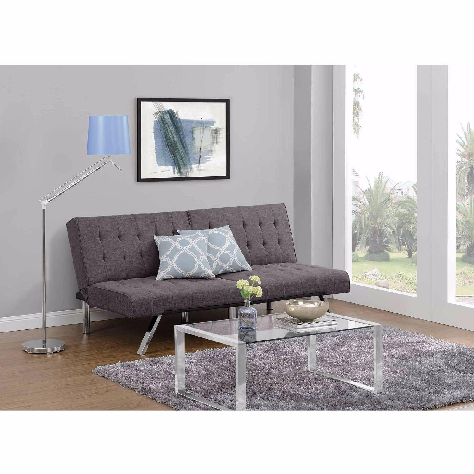 Sectional Grey Futon & Chaise Modern Upholstered