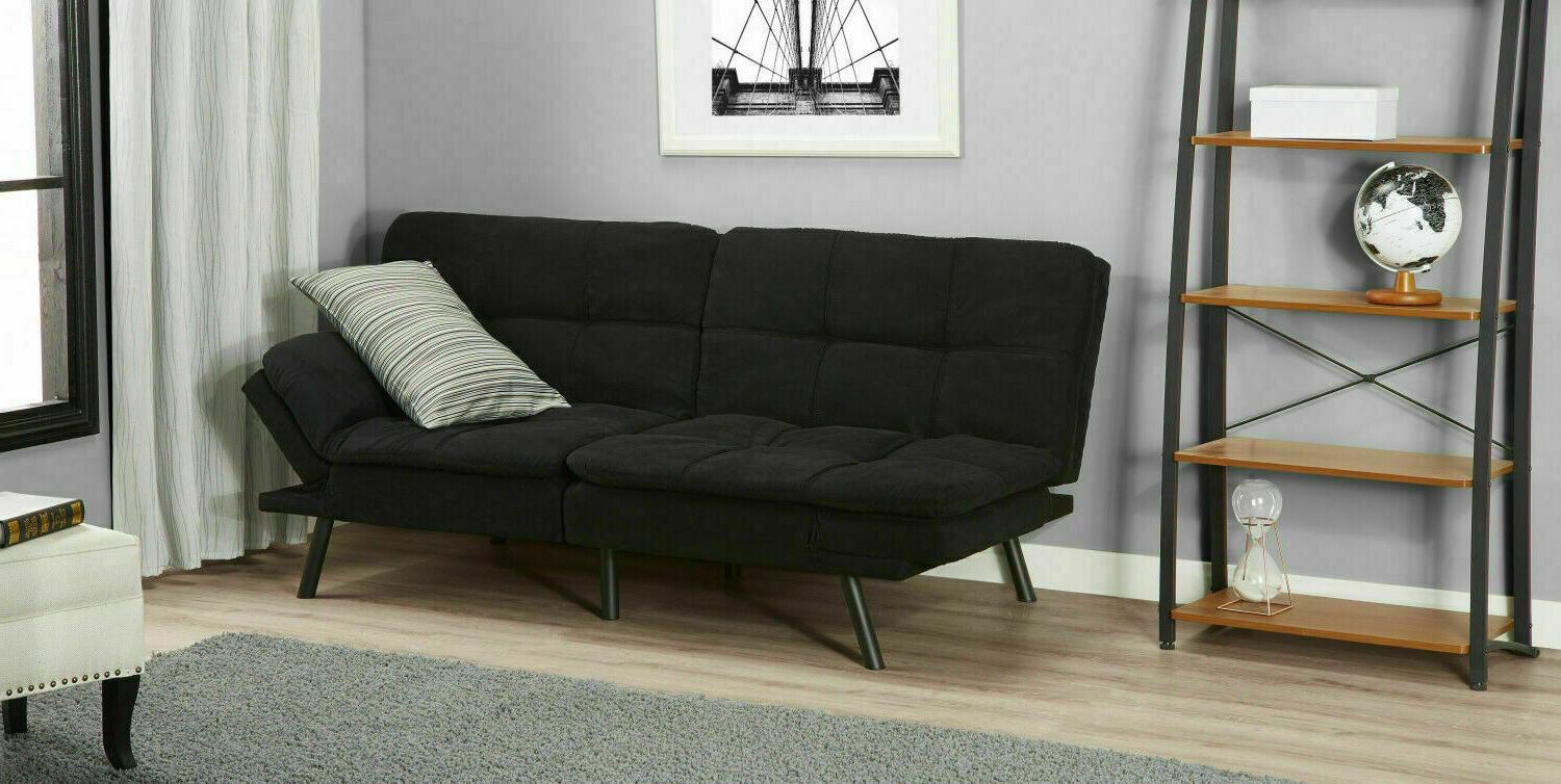 SLEEPER SOFA Suede Convertible Couch Modern Living Futon