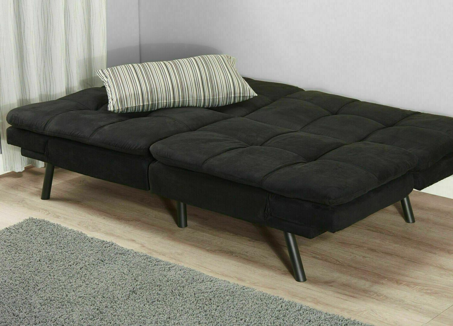 SLEEPER SOFA BED Black Suede Convertible Couch Modern Living Futon Loveseat