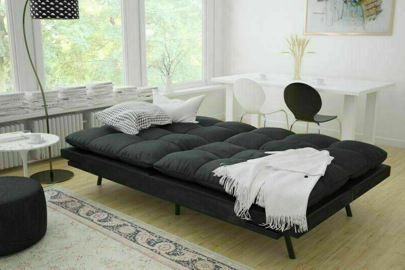 SLEEPER Black Suede Convertible Couch Living Loveseat