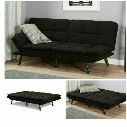sleeper sofa bed black suede convertible couch