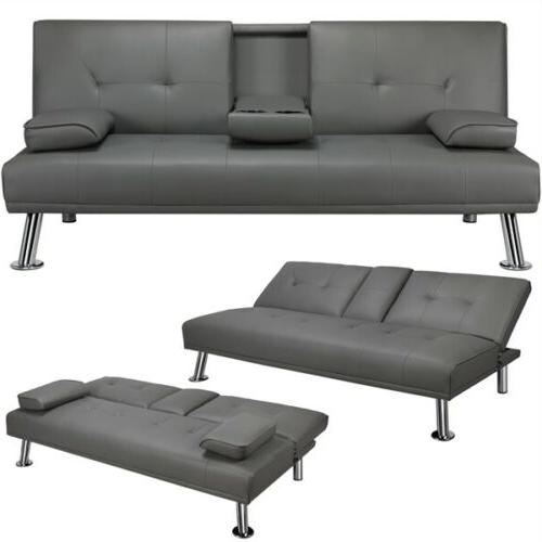 sleeper sofa bed convertible leather couch adjustable